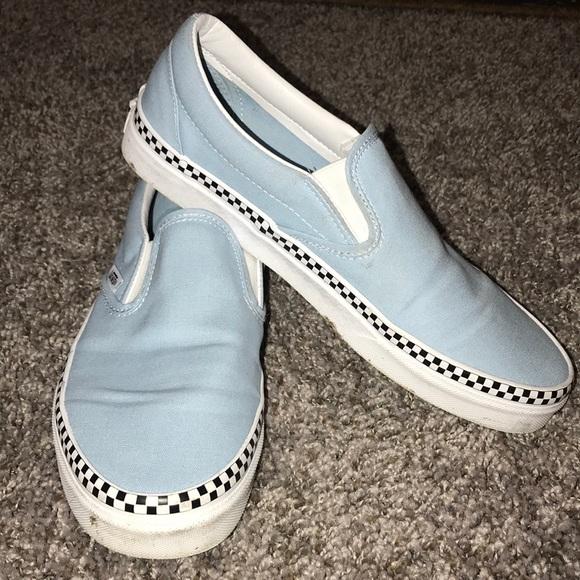 Blue Slip On Vans Checkered Foxing